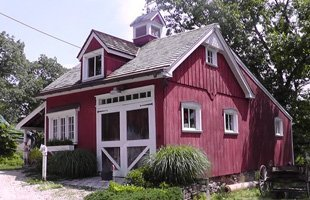 A house with burgundy siding