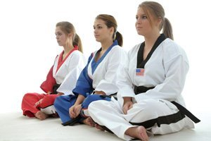 Female karate students