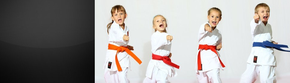 Four kids doing karate