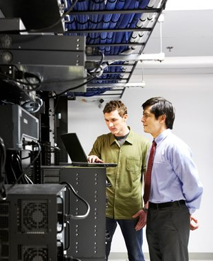 Two man inside the networking room