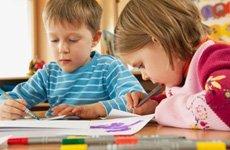 Children doing their art work