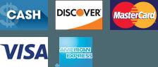 Cash, Discover, MasterCard, Visa, Amex