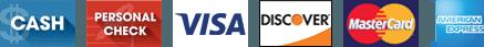 Cash, Personal Check, Visa, Discover, MasterCard & American Express