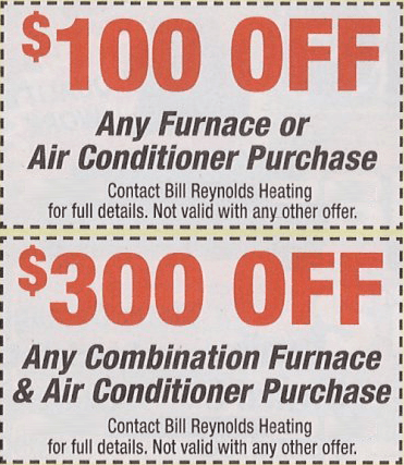 coupon 1 Bill Reynolds Heating & Air Conditioning
