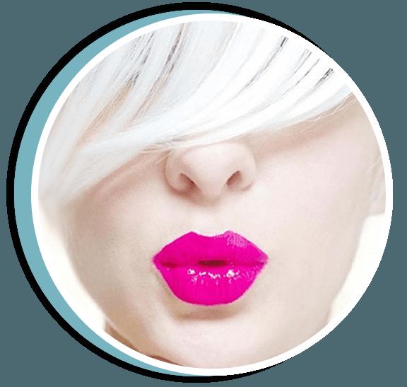 White hair pink lips