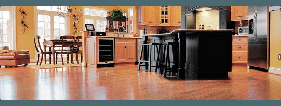 dark colored wooden kitchen flooring