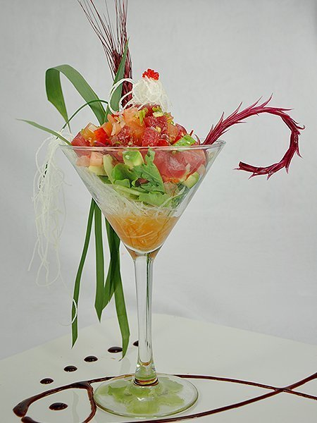Food in a glass