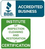 BBB logo and Institute for Inspection, Cleaning and Restoration Certification (IICRC)  logo
