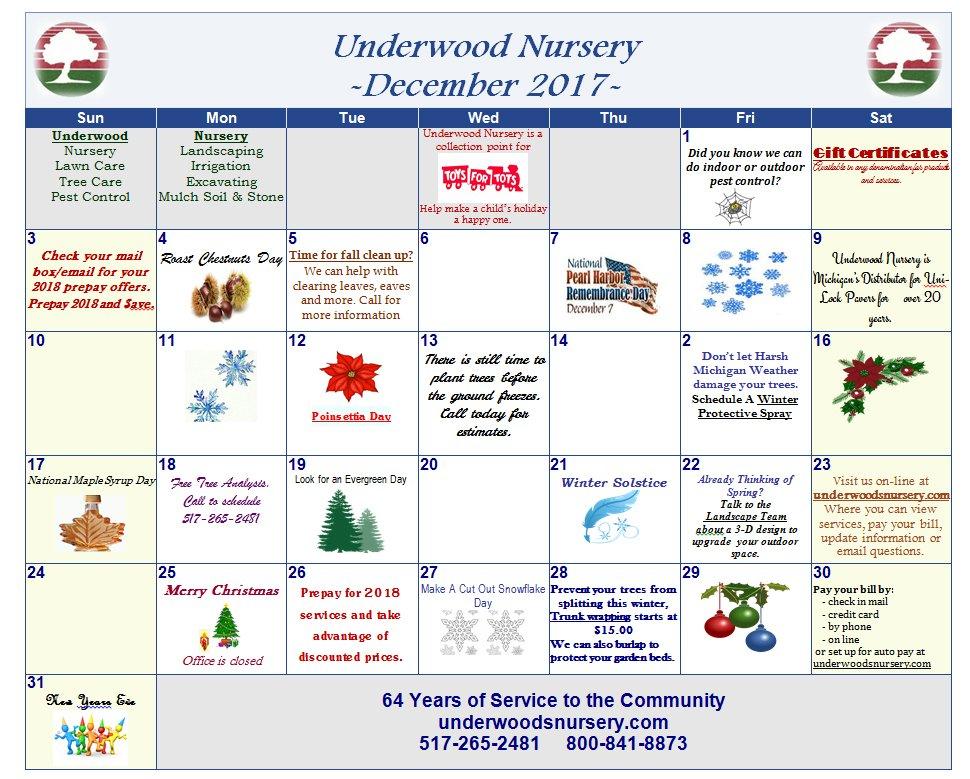 December 2017 Calendar US Holidays