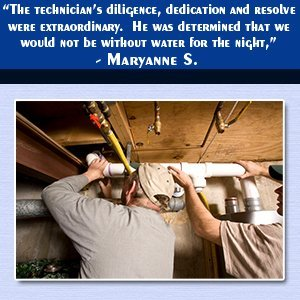 """Water Heaters - Melbourne, FL - Plumbing Masters - Water Heater Installation - """"The technician's diligence, dedication and resolve were extraordinary.  He was determined that we would not be without water for the night,"""" - Maryanne S."""