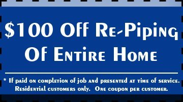 Re-Piping - Melbourne, FL - Plumbing Masters - $100 Off Re-Piping Of Entire Home * If paid on completion of job and presented at time of service. Residential customers only. One coupon per customer.