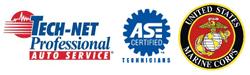 Tech-Net Professional, ASE Certified Technicians, and U.S. Marines Logos