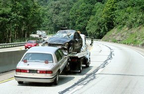 Towed wrecked car