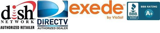 Dish Network, Direct TV, Exede, and Better Business Bureau logos