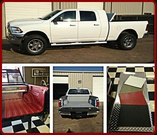 Collage of white pick up truck and truck bed liners