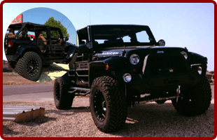 Front and side view of black pick up jeep
