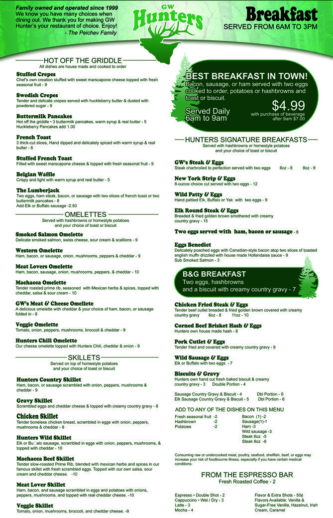 Breakfast Menu - Hunters Steakhouse