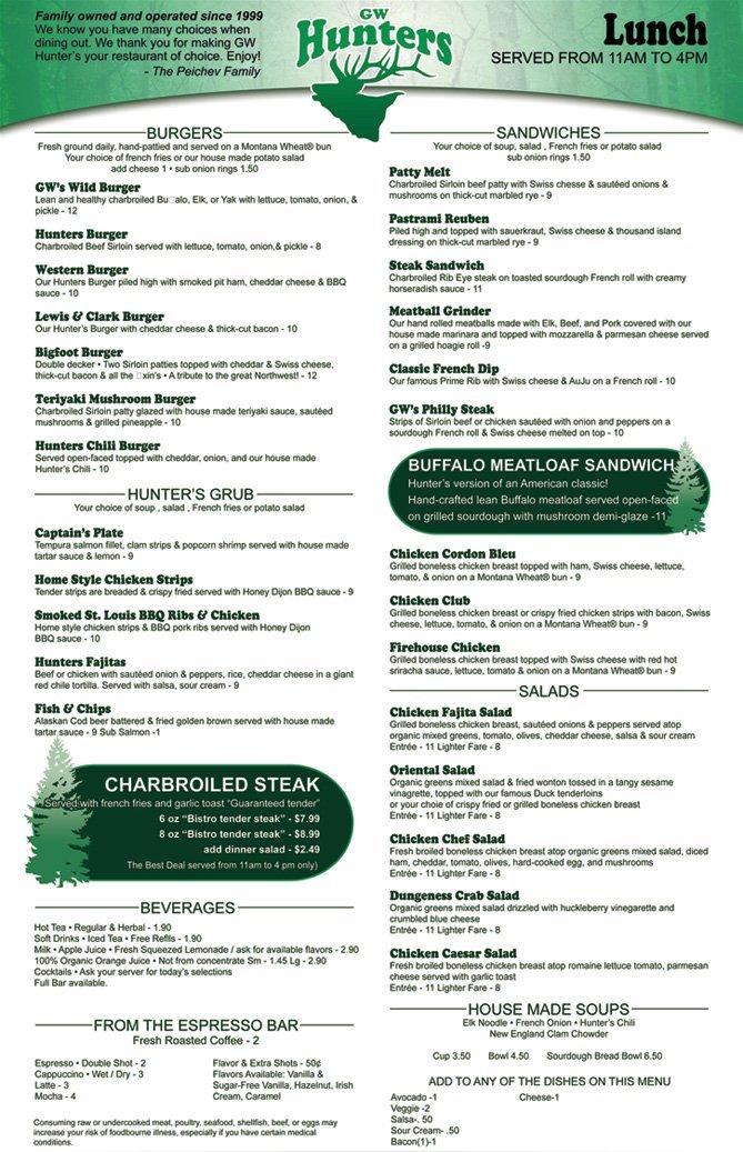 Lunch Menu - Hunters Steakhouse