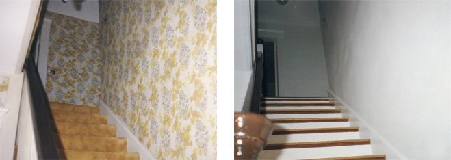 Before and after image of Wallpapering