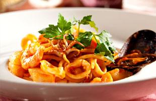 Seafood spaghetti with tiger prawns