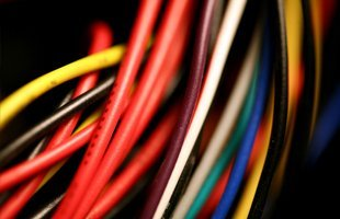 Zoom in view of different colored electrical wires