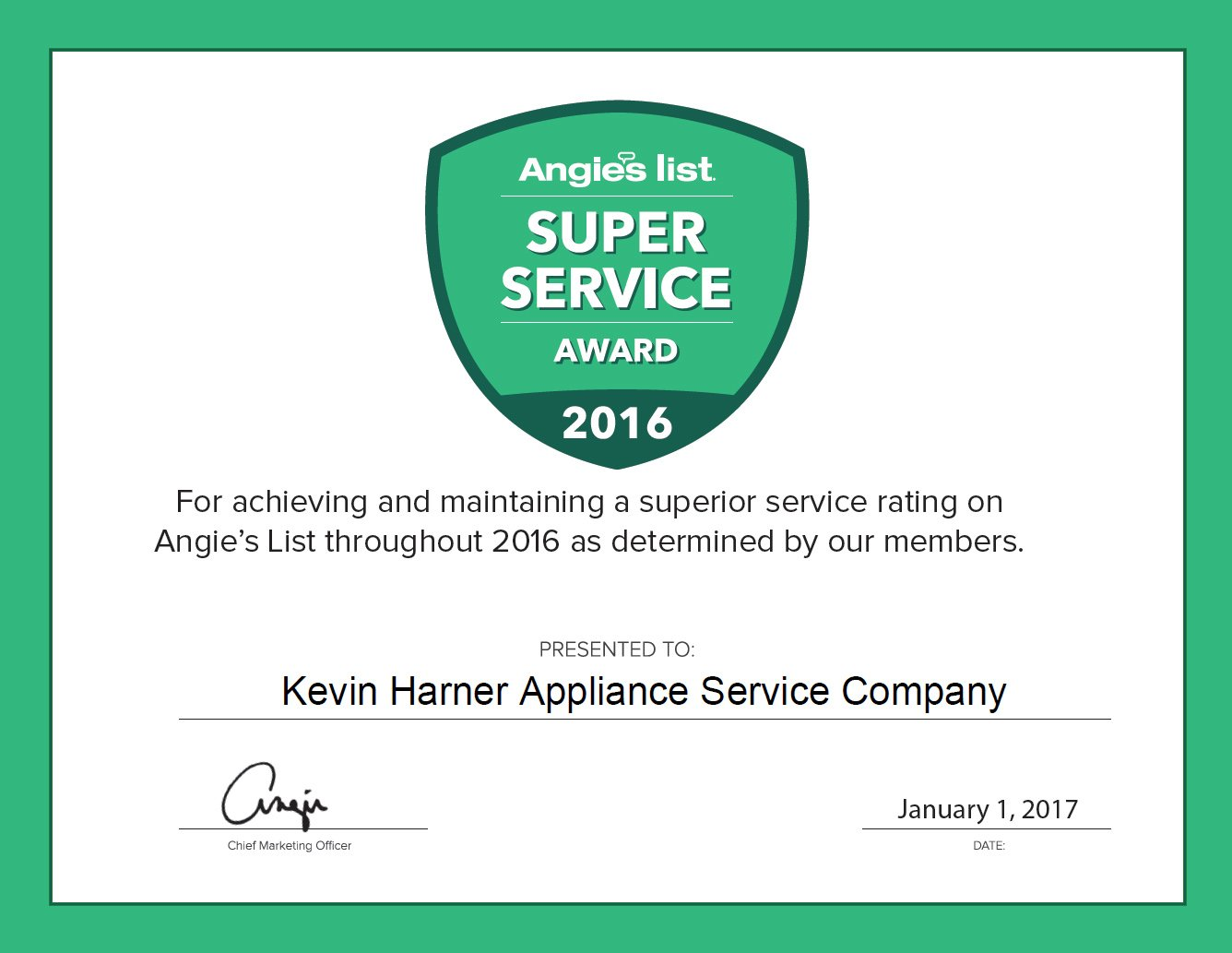 2016 Certificate for Appliance Repair Services page