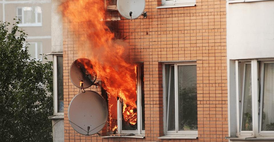 Burning building