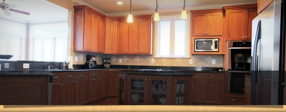 Wooden Cabinets On The Kitchen