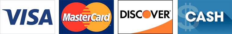 Visa, Mastercard, Discover and Cash
