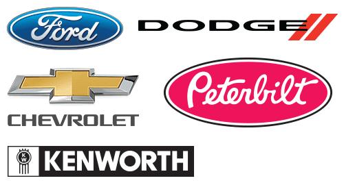 Ford, Dodge, Chevrolet, Peterbilt, and Kenworth logos