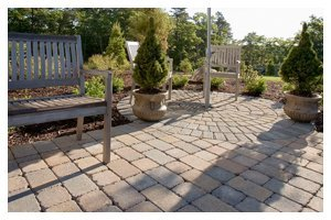 Garden with concrete brick ground