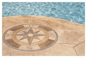 Swimming pool patio with compass design