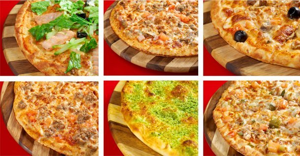 Different types of Italian pizza
