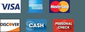 Visa, American Express, MasterCard, Discover, Cash, and Personal Check