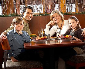 Happy family in restaurant