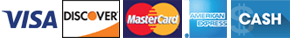 Visa, Mastercard, Discover, American Express, Cash