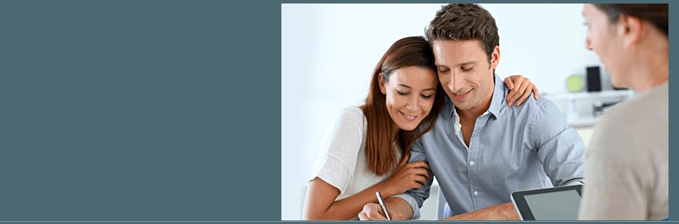 Happy couple having tax preparation