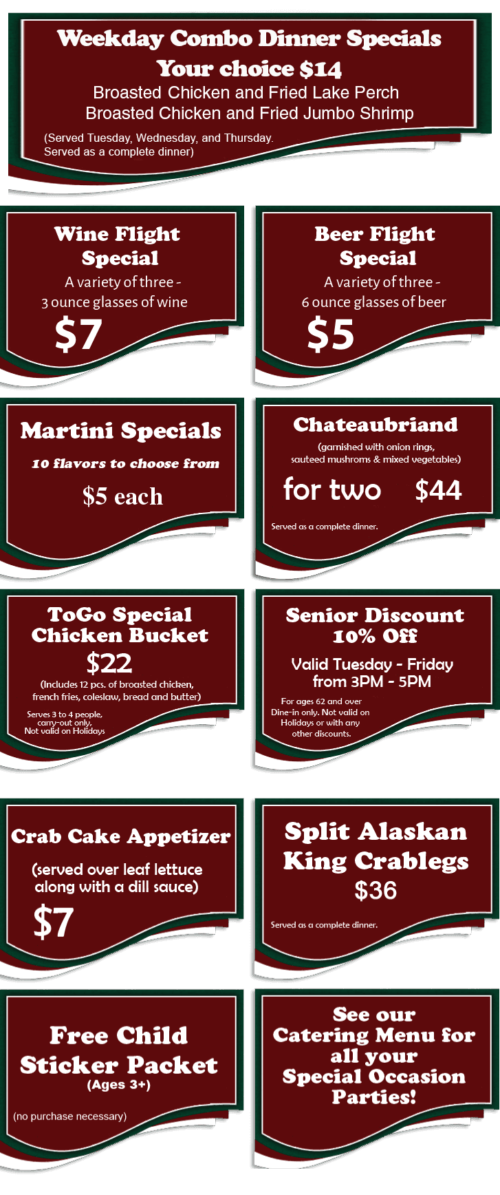 Specials, Promotions, Coupons - Saint John, IN - Dick's Restaurant