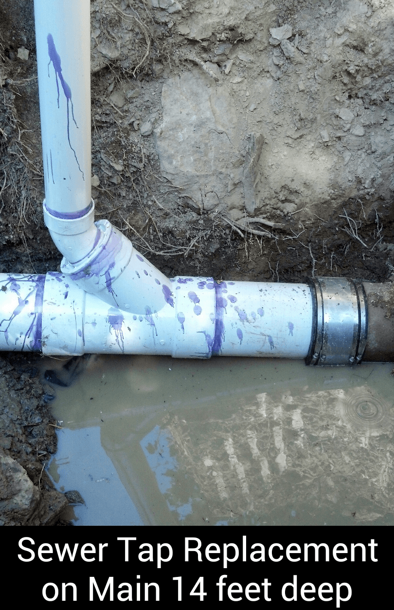 Sewer tap replacement on main 14 feet deep.
