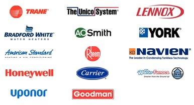 Trane, Bradford White, American Standard, Honeywell, Uponor, The Unico System, AO Smith, Rheem, Carrier, Goodman, Lennox, York, Navien, Water Furnace