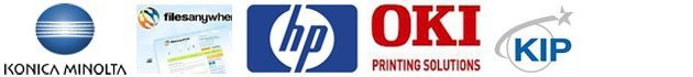 Konica Minolta, Files Anywhere, Hewlett-Packard, OKI Printing Solutions, KIP