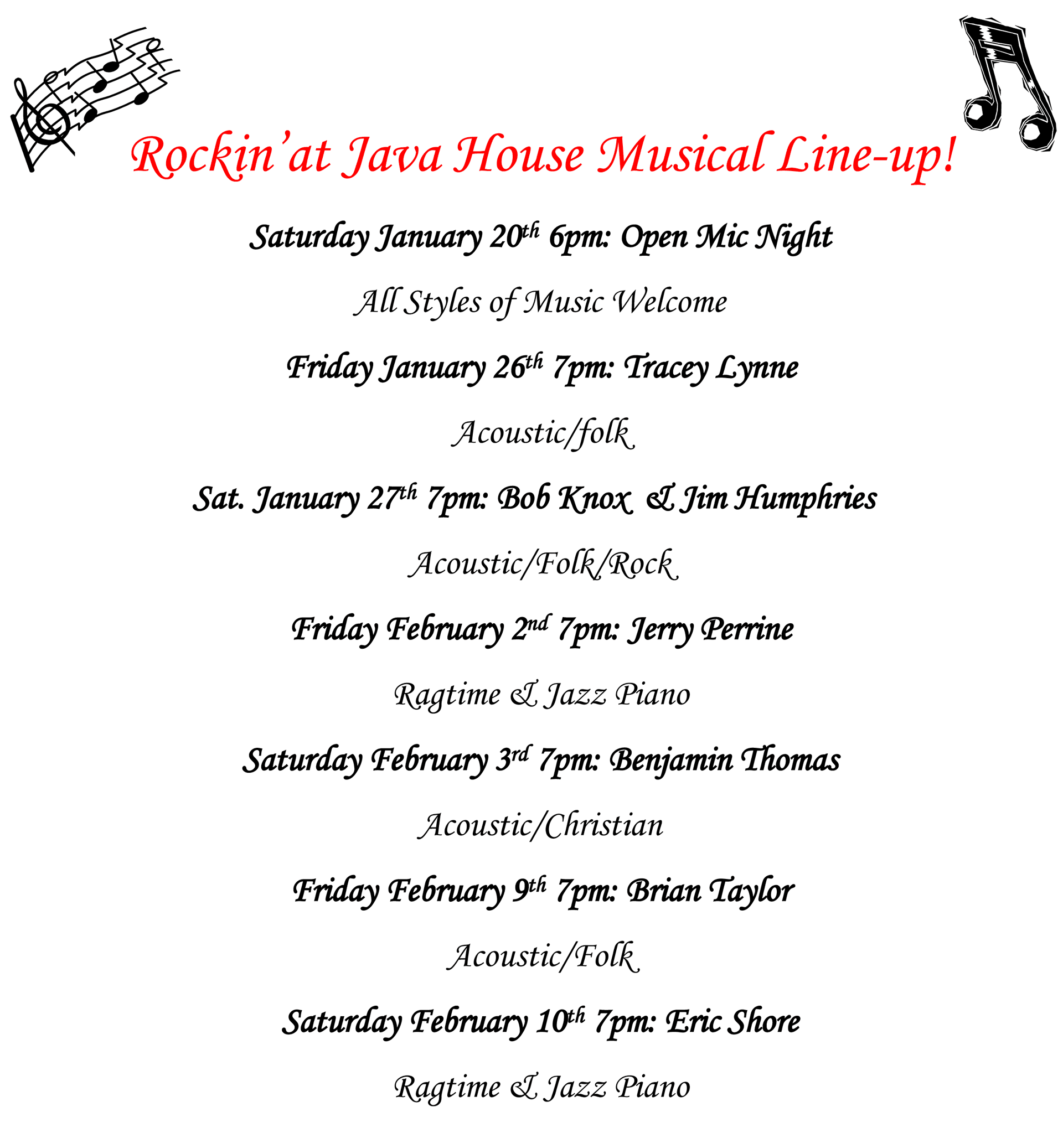 Musical Lineup - South Lyon, MI  - Java House Café