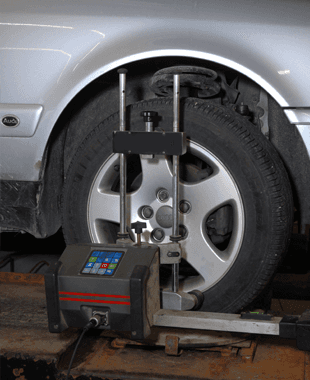 A View Of Wheel Alignment For An Auto