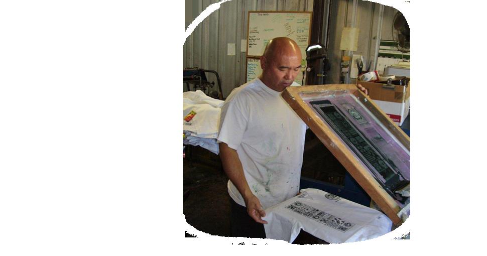 Silk screen printed white shirt