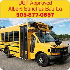 school bus rentals - Albuquerque, NM - Albert Sanchez Bus Co - yellow school bus - DOT Approved Albert Sanchez Bus Co 505-877-0697