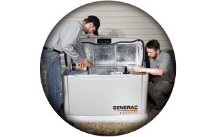 Men checking generator