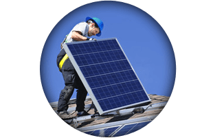 Man fixing solar panel