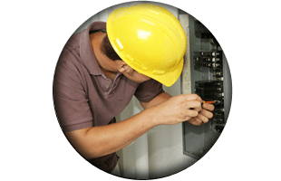 Man inspecting wirings