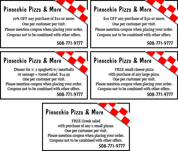 Pinocchio Pizza & More Coupons