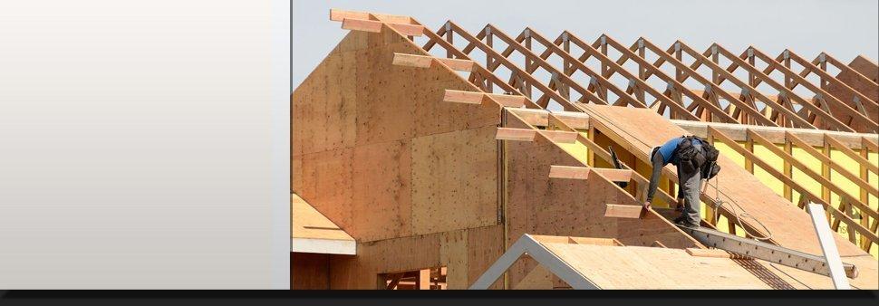 Man constructing a roof